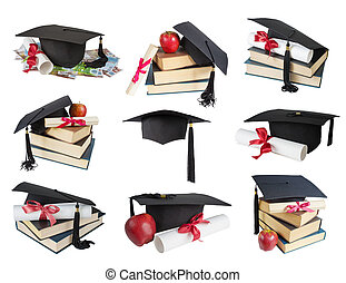 Graduate hat, books and scroll - Set of images of black...