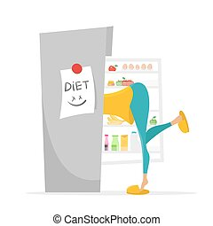 Illustration of girl searching something to eat in the fridge.