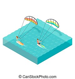 Vector isometric illustration of kite surfers. Man and woman...