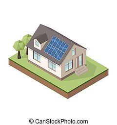 Vector illustration of isometric private cottage or house with solar roof panels for real estate brochures.
