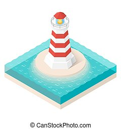 Vector illustration of isometric lighthouse. Searchlight...