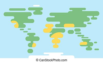 Vector flat style illustration of world map.