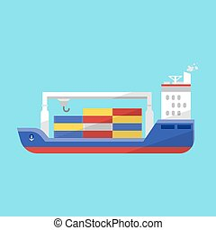 Vector flat style illustration of cargo ship.