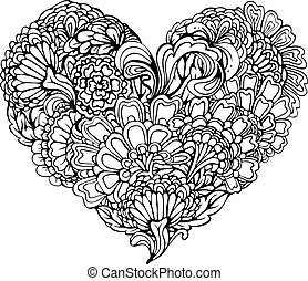 Abstract black paisley ornament in heart shape, isolated on white background. Element for Valentines day card, wedding invitation, love design.  Image for coloring book.