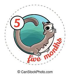 Monthly baby sticker. Cute cartoon animal illustration for...