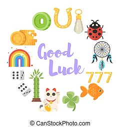 flat style set of luck objects. - Vector flat style set of...