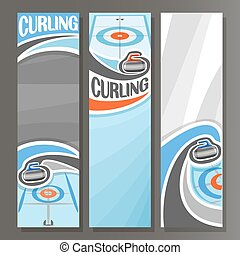 Vector Vertical Banners for Curling: 3 cartoon template for...
