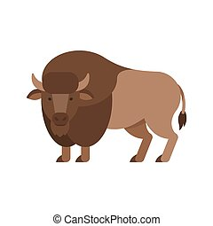 Vector flat style illustration of aurochs. Icon for web....