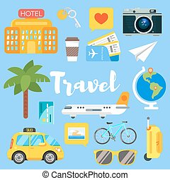 Vector flat style set of travel objects.