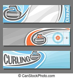 Vector horizontal Banners for Curling: 3 cartoon covers for...