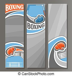 Vector Vertical Banners for Boxing: 3 cartoon template for...