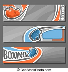 Vector horizontal Banners for Boxing: 3 cartoon covers for...