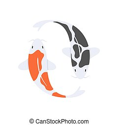 Vector flat style illustration of Japanese koi fish.