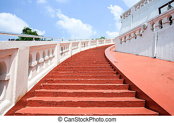 red stair at mountain temple
