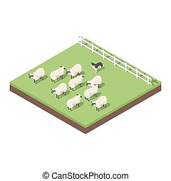 Isometric 3d vector illustration of farm animals. A dog...