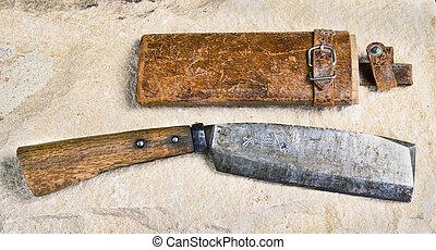 Antique Japanese Cleaver. - Signed antique Japanese knife...