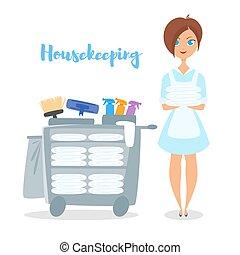 Vector cartoon style illustration of hotel housekeeper.