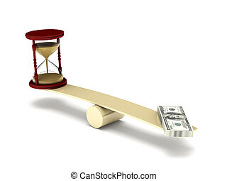 Time is money. Hourglass and dollar bills on seesaw isolated...