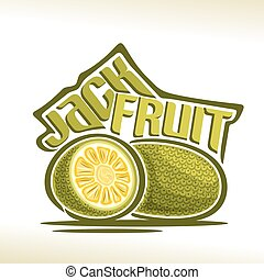 Vector logo Jackfruit Fruit: still life of 2 whole and cut...