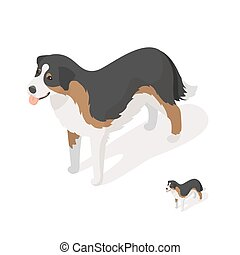 Isometric 3d vector illustration of sheep dog isolated on...