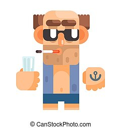 Unshaved Alcoholic With Anchor Tattoo And Cigarette, Revolting Homeless Person, Dreg Of Society, Pixelated Simplified Male Vagabond Character