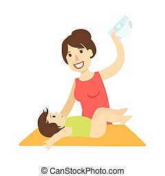 Mother Changing Nappy To A Baby On Changing Table, Illustration From Happy Loving Families Series