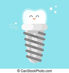 Vector flat style illustration of happy dental implant. Icon...