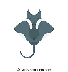 Vector flat style illustration of stingray. Icon for web....
