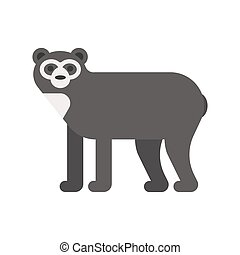 Vector flat style illustration of spectacled bear. Icon for...