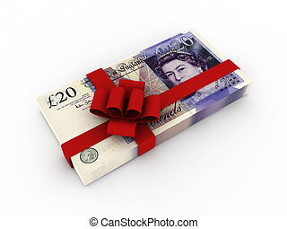 Gift of money. Stack of pound sterling bills with red ribbon...