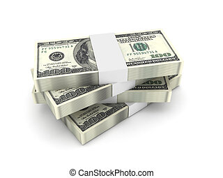 Stack of 100 dollar bills isolated on white background. High...
