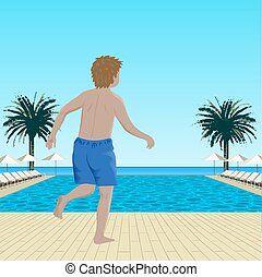 Running boy near swimming pool