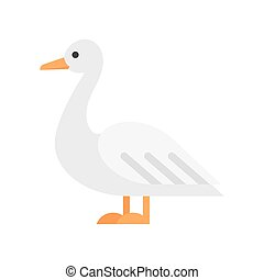 Vector flat style illustration of duck. Icon for web....
