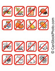 Common Allergens Warning Signs Set - Common allergens...