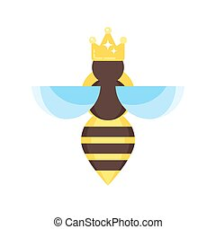 Vector flat style illustration of queen bee
