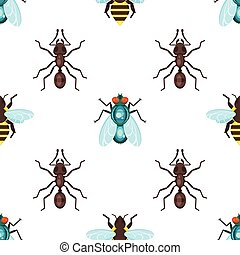 Vector flat style seamless pattern with ants, bees and fly.