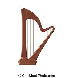 Vector flat style antique musical instrument harp.