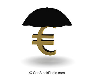 Finance insurance Euro sign under umbrella isolated on white...