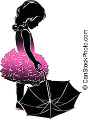 Silhouette little girl in pink with umbrella