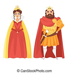 Vector cartoon style illustration of King and queen. Icon...