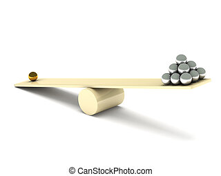 Imbalance. Metal balls on seesaw isolated on white...