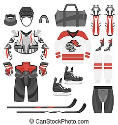Vector flat style set of hockey equipment.