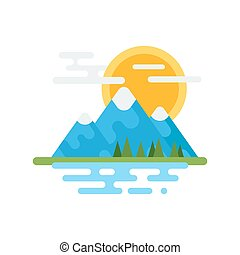 Vector flat style illustration of Canadian mountain. Icon...