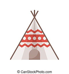Vector flat style illustration of wigwam. Icon for web....