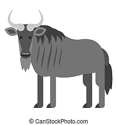 Vector flat style illustration of black wildebeest . Icon...