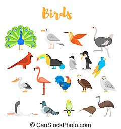 Vector flat style set of birds. Icon for web. Isolated on...