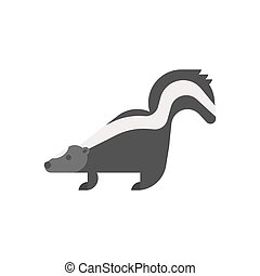 Vector flat style illustration of skunk. Icon for web....