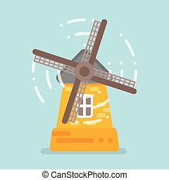 Vector flat style illustration of mill. Isolated on blue background.