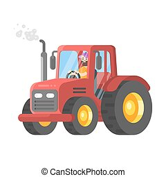Vector flat style illustration of tractor-driver. Isolated...