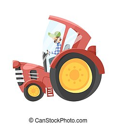 Vector cartoon illustration of tractor-driver. Isolated on...